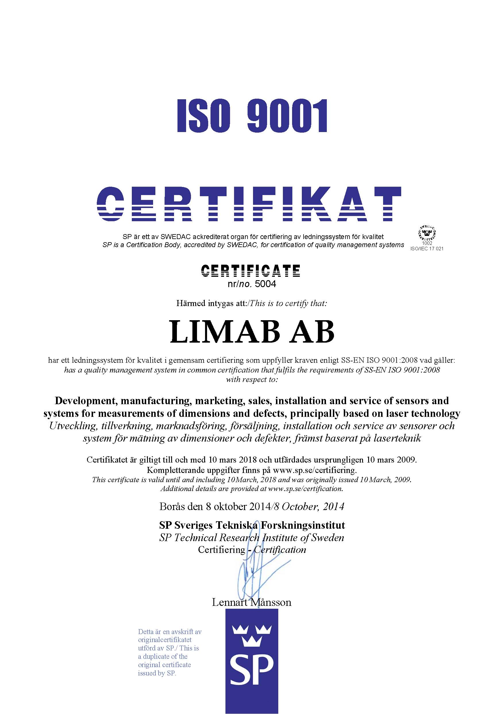 LIMAB ISO 9001 certifikat